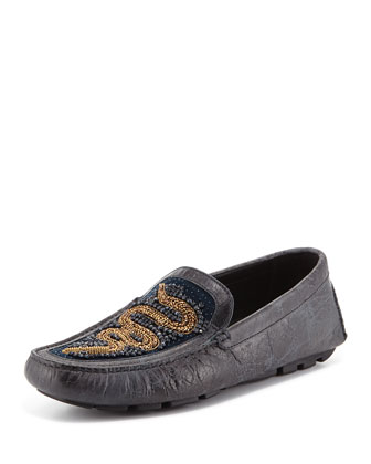 Vitox Beaded-Snake Loafer, Gray