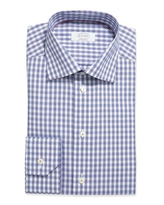 Box Plaid Dress Shirt, Navy on white