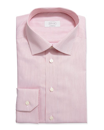 Hairline-Striped Dress Shirt, Red/White