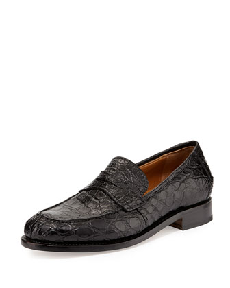 Gerard 4 Tramezza Crocodile Penny Loafer, Black