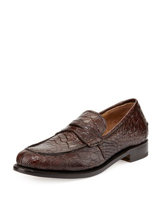 Gerard 4 Tramezza Crocodile Penny Loafer, Brown