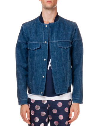 'Lady Liberty' Denim Bomber Jacket, Blue