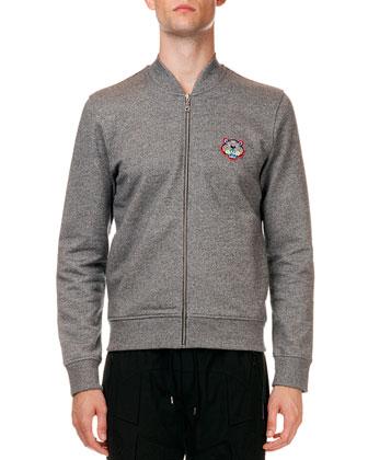 Zip-Up Sweatshirt Jacket with Tiger Detail & Tech-Fabric Biker Drawstring ...