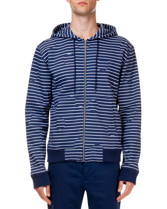 Striped & Broken Dot Pattern Zip Jacket, Navy/White