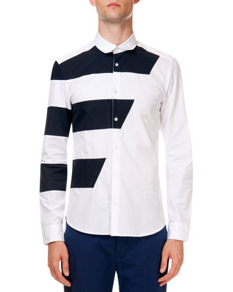 Long Sleeve Button-Down Shirt with Racing Stripe, White/Navy