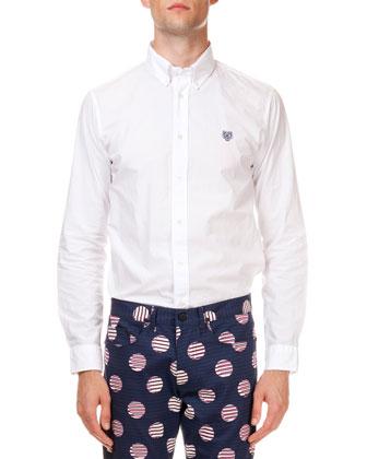 Button-Down Poplin Tiger Shirt, White