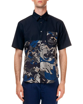 Floral-Print Short Sleeve Shirt, Navy