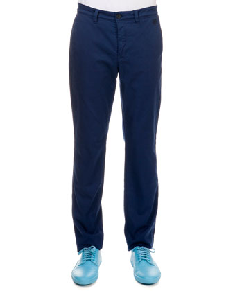 Poplin Pants with Tiger Detail, Navy