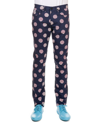 Slim-Fit Stripe & Dot-Print Pant, Navy