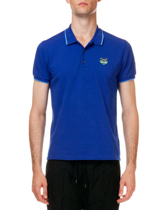 Tipped Tiger Short Sleeve Pique Polo, Blue