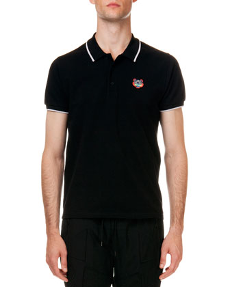 Tipped Tiger Short Sleeve Pique Polo, Black
