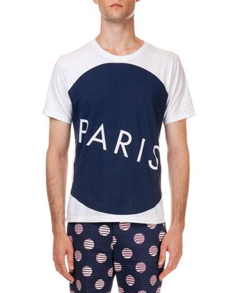 Paris-Print Jersey Short Sleeve Tee, White/Navy