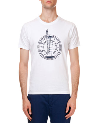 Paris Statue Logo Tee, White