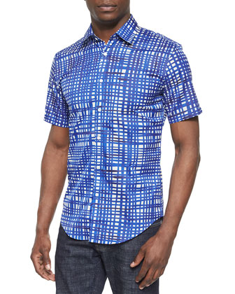 Painted Check Short-Sleeve Shirt, Indigo