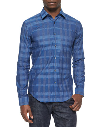 Johnny-Collar Tonal Check Shirt, Light Blue