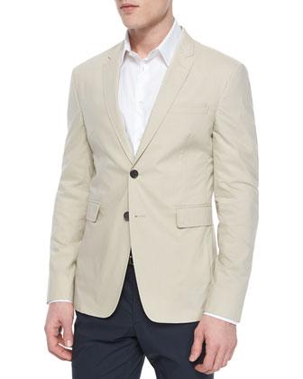 Modern-Fit Cotton Sport Coat, Khaki
