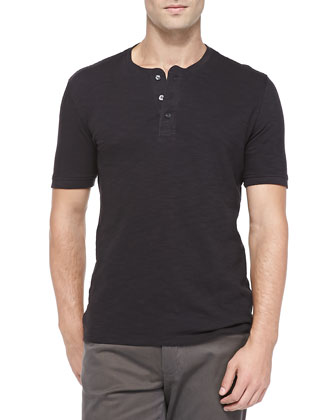 Short-Sleeve Slub Henley, Black