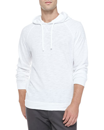 Slub Cotton Pullover Hoodie, White