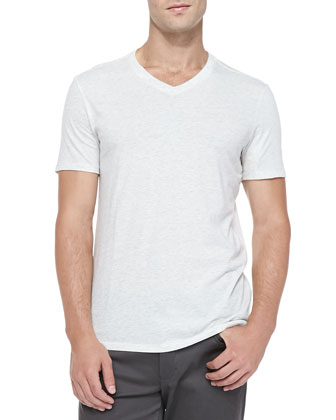 Jersey V-Neck Tee, Heather White