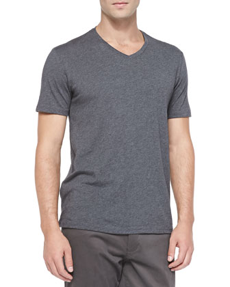 Jersey V-Neck Tee, Heather Carbon