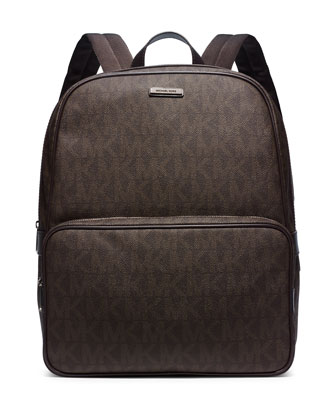 Printed Faux-Leather Backpack, Brown