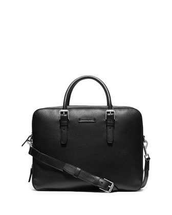 Double-Gusset Pebbled Briefcase, Black