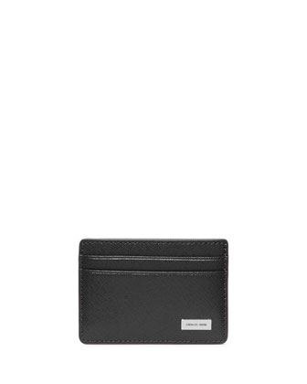 Saffiano Leather Card Holder, Black