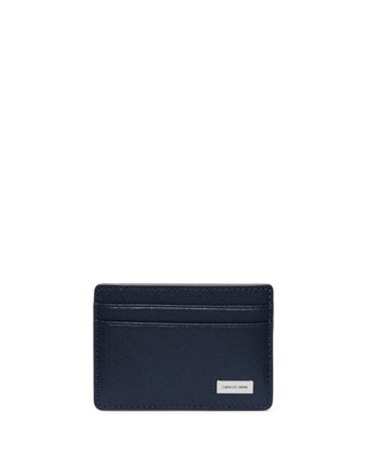 Saffiano Leather Card Holder, Indigo