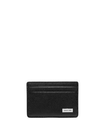Saffiano Leather Clip Card Case, Black