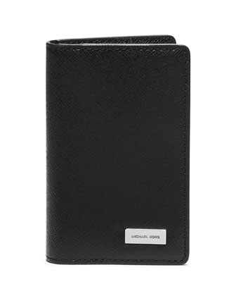 Saffiano Leather Bifold Wallet, Black