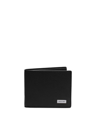 Slim Saffiano Leather Bifold Wallet, Black