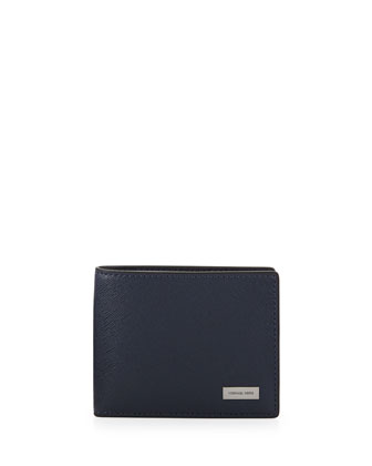 Saffiano Slim Bi-Fold Wallet, Indigo