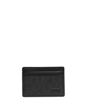 Shadow-Print Faux-Leather Card Case, Black