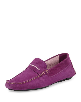Roadster Men's Suede Penny Driver, Purple/Pink