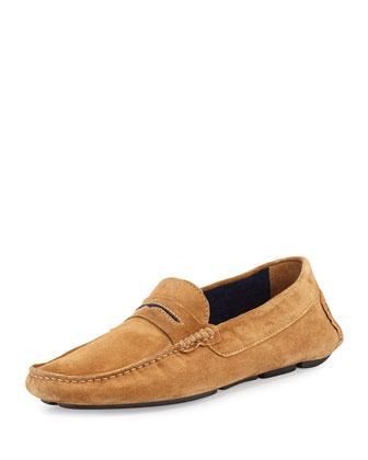 Roadster Men's Suede Driver Loafer, Brown/Navy