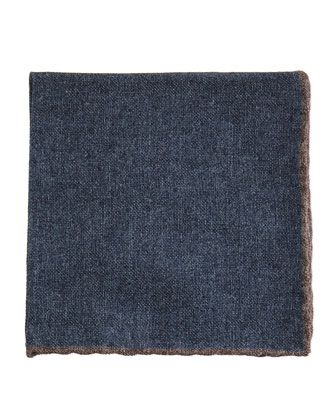 Solid Wool Pocket Square, Blue