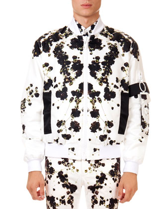 Floral Print Printed Bomber Jacket, Shirt & Slim Trousers