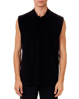 Sleeveless Double-Breasted Jacket, Sleeveless Polo & Wool Bermuda Shorts