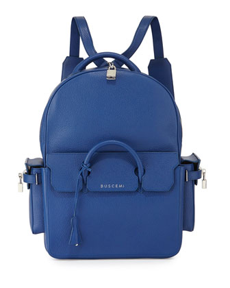 PHD Large Leather Backpack, Blue