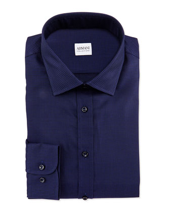 Textured Tonal-Check Dress Shirt, Navy