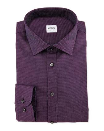 Textured Solid Dress Shirt, Burgundy