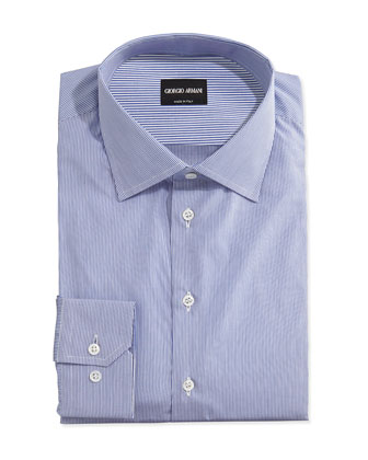 Microstriped Woven Dress Shirt, Navy