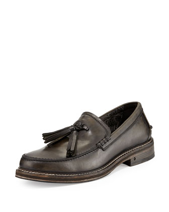 Tassel Leather Loafer, Old Bark