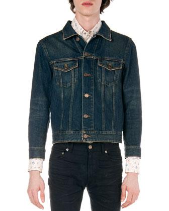 Denim Trucker Jacket, Floral-Print Western Shirt & Frayed Hem Skinny Jeans