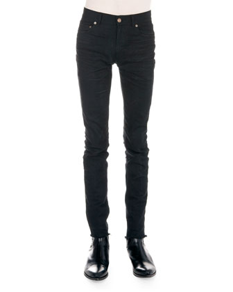 Tipped Short-Sleeve Polo & Frayed Hem Skinny Jeans