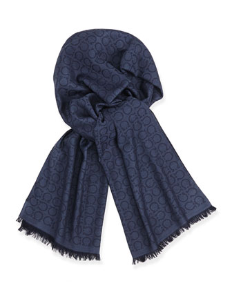 Men's Gancini Scarf, Blue