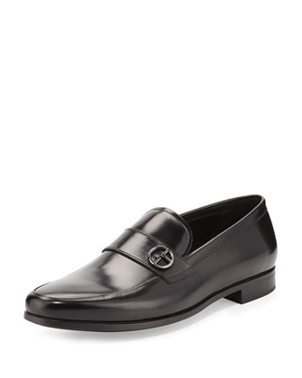 Leather Logo-Strap Loafer, Black