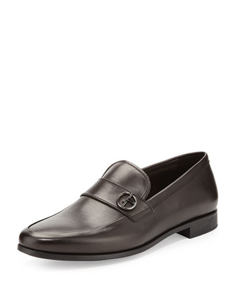 Leather Logo-Strap Loafer, Dark Brown