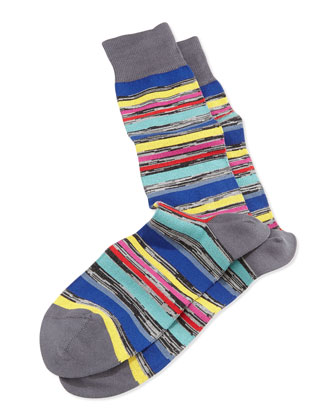U-Twist Stripe Socks, Gray