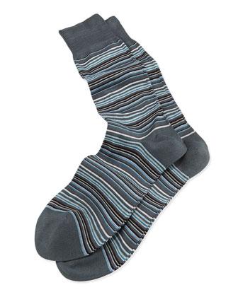 Mini-Multi-Stripe Socks, Gray